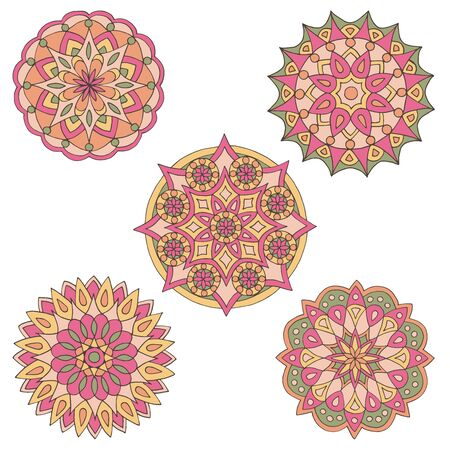 Abstract set of hand-drawn mandalas in beautiful colors on white background Standard-Bild - 127655727