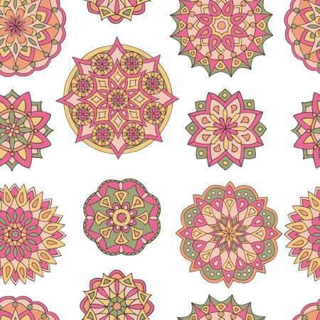 Abstract seamless pattern of hand-drawn mandalas in beautiful colors on white background Standard-Bild - 127667919