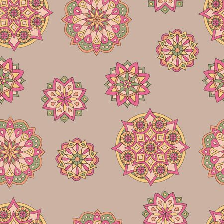 Abstract seamless pattern of hand-drawn mandalas in beautiful colors on brown background Stock Illustratie