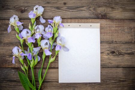 Beautiful purple flowers irises and a sheet of paper on a wooden rustic background in summer, top view, with a copy space Standard-Bild - 127662675