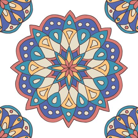 Abstract seamless pattern of hand-drawn mandalas in beautiful colors on white background Standard-Bild - 127655761