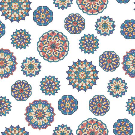 Abstract seamless pattern of hand-drawn mandalas in beautiful colors on white background Standard-Bild - 127655764