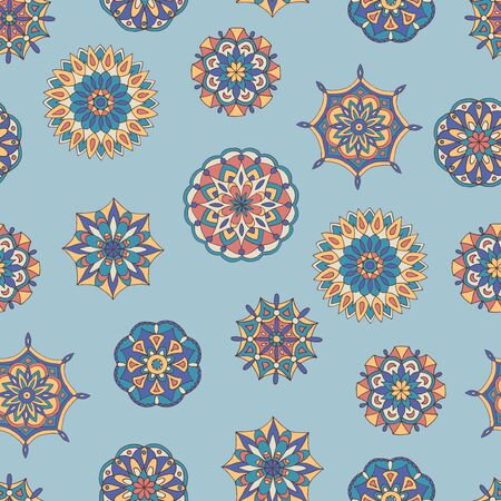 Abstract seamless pattern of hand-drawn mandalas in beautiful colors Standard-Bild - 127655765