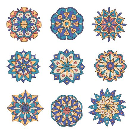 Abstract set of hand-drawn mandalas in beautiful colors on white background Standard-Bild - 127655767