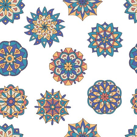 Abstract seamless pattern of hand-drawn mandalas in beautiful colors on white background Standard-Bild - 127655768