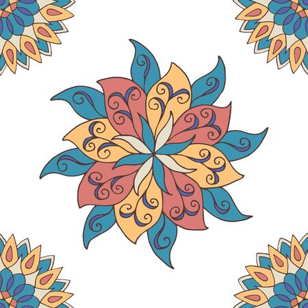 Abstract seamless pattern of hand-drawn mandalas in beautiful colors on white background Standard-Bild - 127655769