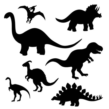 Set of black silhouettes of dinosaurs on a white background, stegosaurus, Triceratops, Tyrannosaurus, Brontosaurus, pterodactyl and others 일러스트
