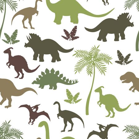 Seamless pattern with colorful dinosaur silhouettes, stegosaurus, Triceratops, Tyrannosaurus, Brontosaurus, pterodactyl and others