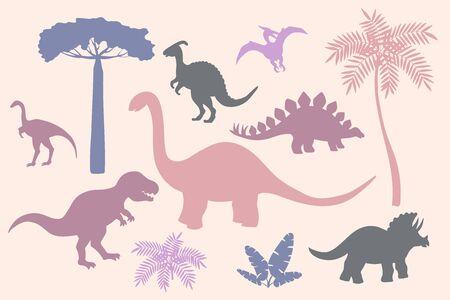 Set of colorful silhouettes of dinosaurs on pink background, stegosaurus, Triceratops, Tyrannosaurus, Brontosaurus, pterodactyl and others 일러스트
