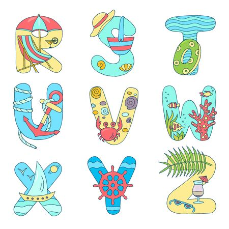 Bright English alphabet from R to Z on the theme of rest on the sea, summer holidays on a white background