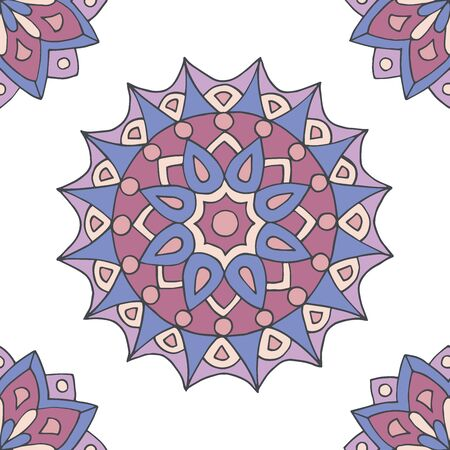 Abstract seamless pattern of hand-drawn mandalas in beautiful colors on white background