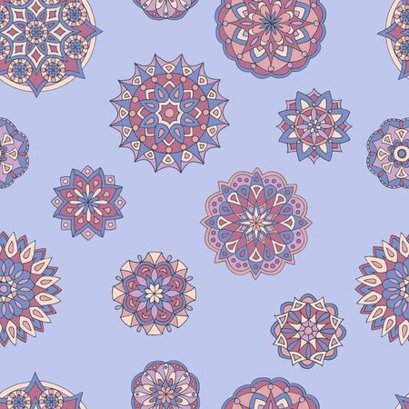 Abstract seamless pattern of hand-drawn mandalas in beautiful colors on purple background