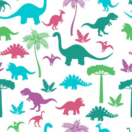 Seamless pattern with colorful dinosaur silhouettes, stegosaurus, Triceratops, Tyrannosaurus, Brontosaurus, pterodactyl and others 스톡 콘텐츠 - 130489472