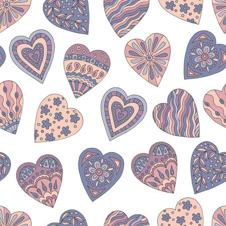 Seamless pattern of abstract hand-drawn hearts with Doodle patterns on white background, cover design, notebooks, textiles