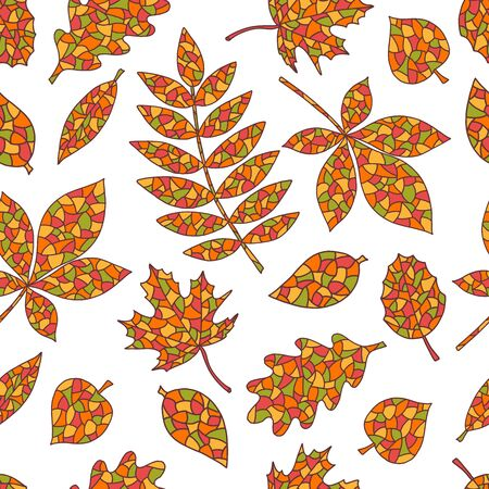 Seamless pattern of abstract hand-drawn and painted autumn leaves on white background