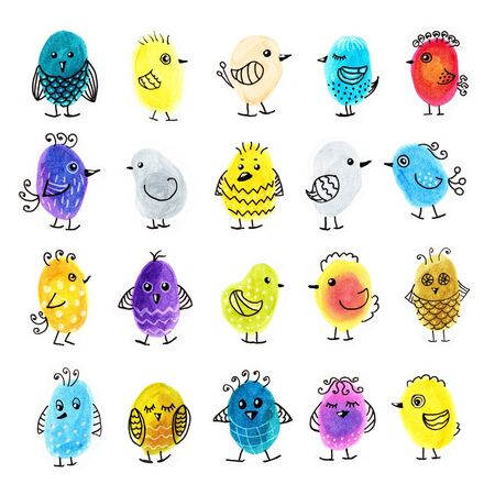 Large set of colorful abstract funny doodle birds, hand-drawn markers and liners on a white background, for stickers, decoration, cover design