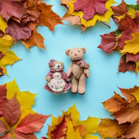 Autumn blue background with two small toy bears in a frame of colorful leaves