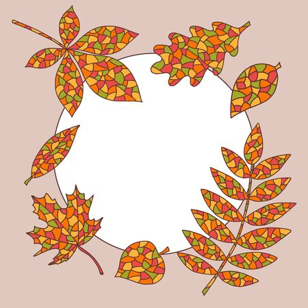 Cozy round vector frame with abstract autumn leaves on beige background Çizim