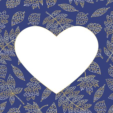 Elegant beautiful heart shaped frame with gold abstract autumn leaves on dark blue background Çizim