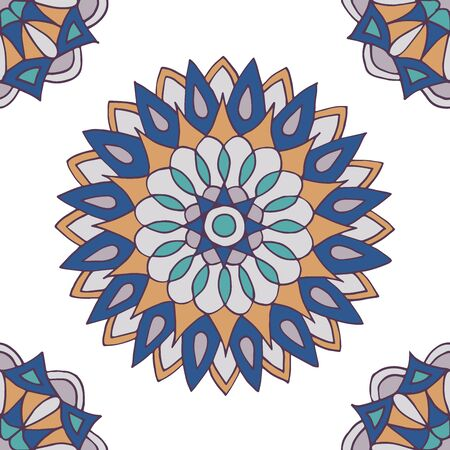 Abstract seamless pattern of hand-drawn mandalas on white background 일러스트