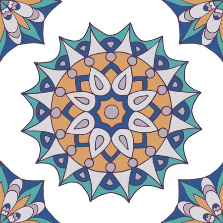 Abstract seamless pattern of hand-drawn mandalas on white background Çizim