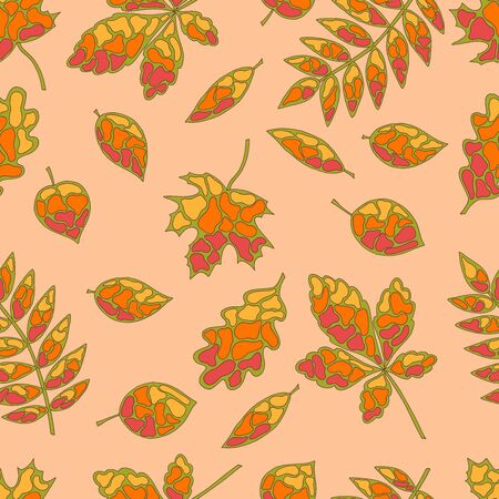 Seamless pattern of original autumn leaves, stained glass style, on an orange background