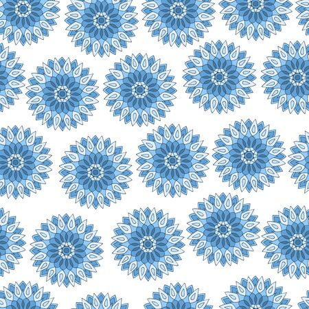 Seamless pattern of beautiful blue mandalas on a white background, for fabric print, notebook covers and other design Çizim