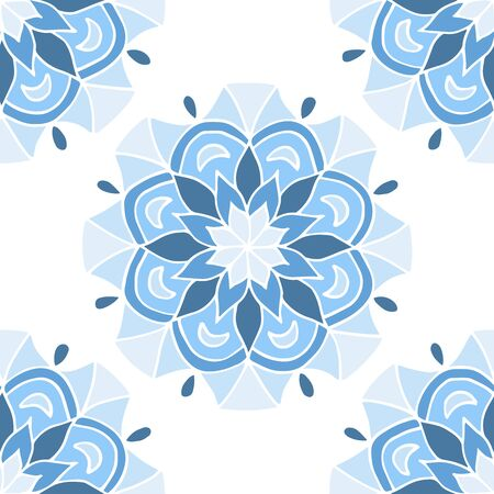 Seamless pattern of beautiful blue mandalas on a white background, for printing on fabric, notebook covers, finishing tiles in the interior Standard-Bild - 133357099