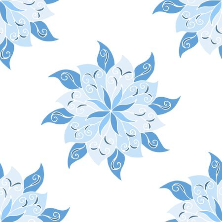Seamless pattern of beautiful blue mandalas on a white background, for printing on fabric, notebook covers, finishing tiles in the interior Standard-Bild - 133357100