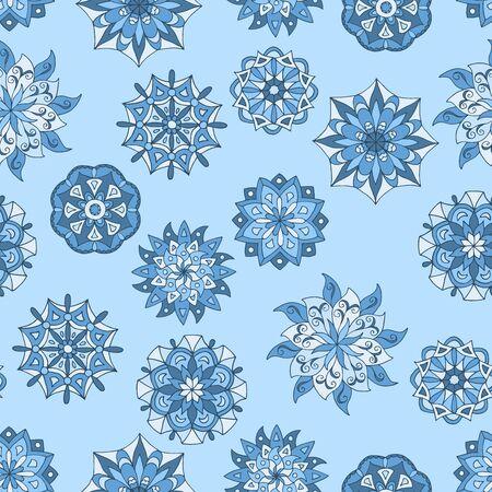 Beautiful seamless pattern with winter mandalas on blue background Standard-Bild - 133357101