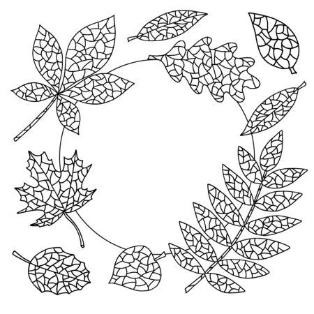 Coloring page with abstract autumn leaves, round frame Çizim