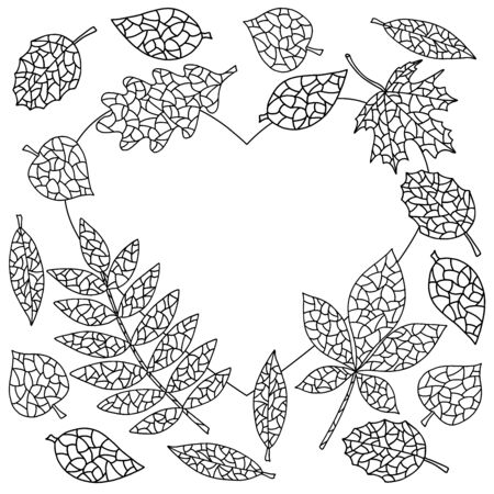 Frame in the shape of a heart with abstract autumn leaves coloring page for kids and adults