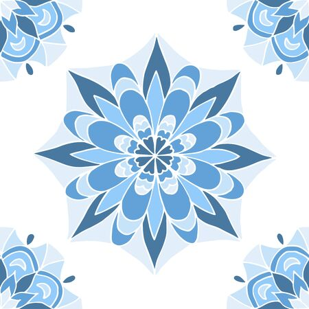Seamless pattern of beautiful blue mandalas on a white background, for printing on fabric, notebook covers, finishing tiles in the interior Standard-Bild - 133357103