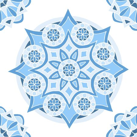 Seamless pattern of beautiful blue mandalas on a white background, for printing on fabric, notebook covers, finishing tiles in the interior Standard-Bild - 133357102