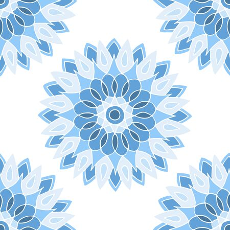Seamless pattern of beautiful blue mandalas on a white background, for printing on fabric, notebook covers, finishing tiles in the interior Standard-Bild - 133357104