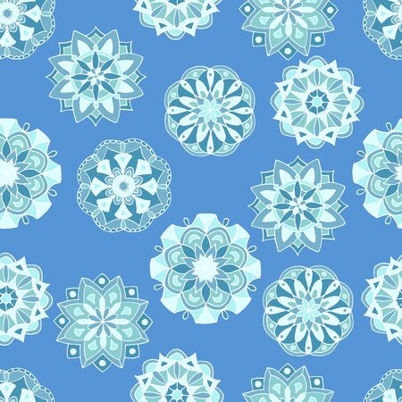 Seamless pattern with hand-drawn winter mandalas on blue background Çizim