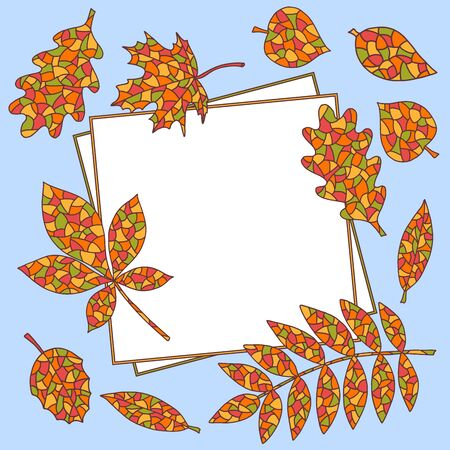 Beautiful blue frame with bright abstract autumn leaves, for the design and decoration of notebooks, diaries, and other things