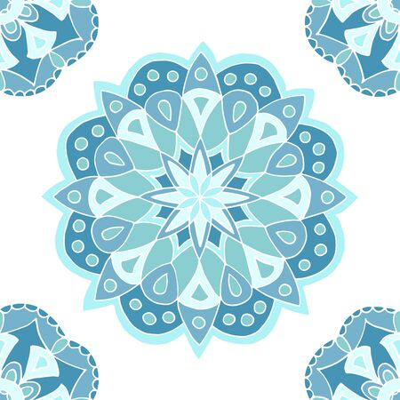 Seamless pattern of beautiful blue mandalas on a white background, for printing on fabric, notebook covers, finishing tiles in the interior