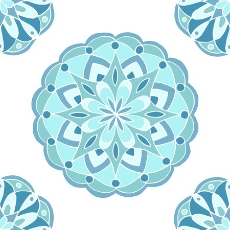 Seamless pattern of beautiful blue mandalas on a white background, for printing on fabric, notebook covers, finishing tiles in the interior Standard-Bild - 133357119