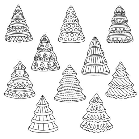 A set of hand-drawn doodle Christmas trees, coloring page for children and adults