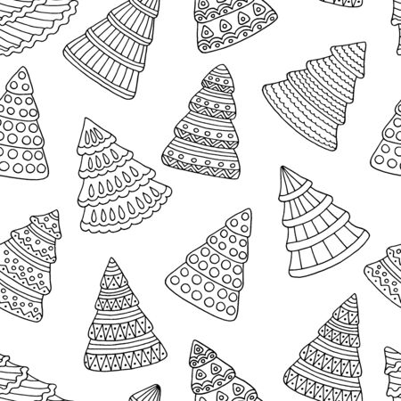 Seamless pattern with abstract Christmas trees coloring page for kids and adults Çizim