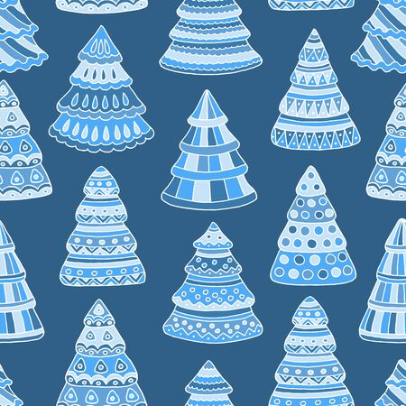 Beautiful seamless pattern with decorated blue abstract Christmas trees, for cover design, print on textiles, gift packages 일러스트