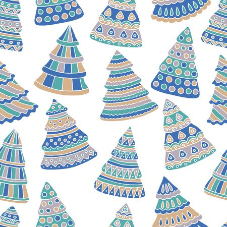 Seamless pattern with abstract Christmas trees doodles on a white background, cover design, print on textiles and more Standard-Bild - 133357145