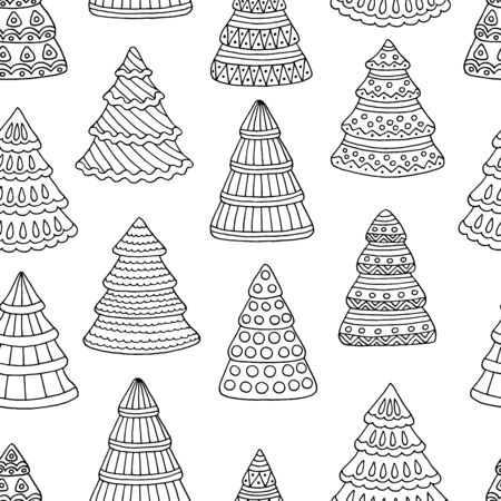 Seamless pattern with Christmas tree doodles, coloring page for kids and adults