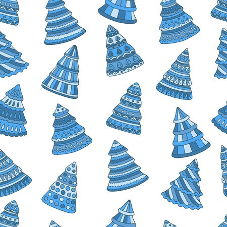 Seamless pattern with blue doodle Christmas trees on white background
