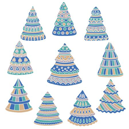 Cute set of hand drawn doodle Christmas trees on white background