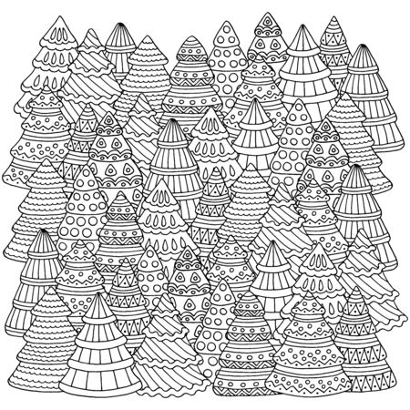 Many hand-drawn doodle Christmas trees, forest, coloring page for children and adults