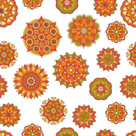 Seamless pattern with hand drawn bright sunny original mandalas, for cover design, print on textiles