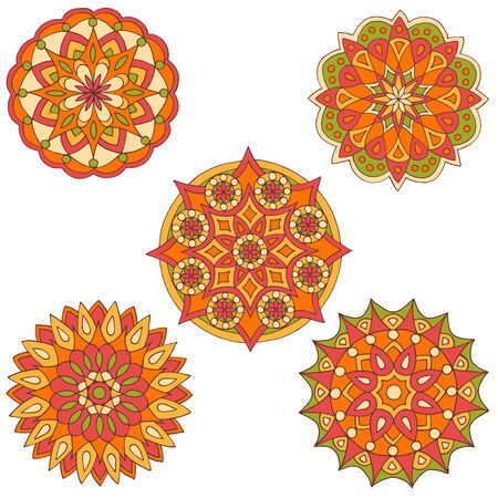 Set of five bright solar mandalas on a white background Çizim