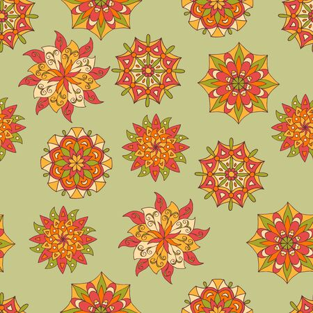 Seamless pattern with hand drawn bright sunny original mandalas on a green background, for cover design, print on textiles, gift packages